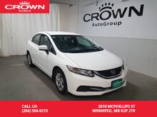 2015_Honda_Civic Sedan_LX/no accidents/ one owner lease return/2-way remote starter/ very low kms/ econ mode/ back up cam_ Winnipeg MB