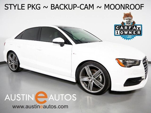 2016 Audi A3 1.8T Premium *STYLE PACKAGE, BACKUP-CAMERA, PANORAMA MOONROOF, LEATHER, ADVANCED KEY, HEATED SEATS, 19 INCH ALLOYS, BLUETOOTH PHONE & AUDIO Round Rock TX