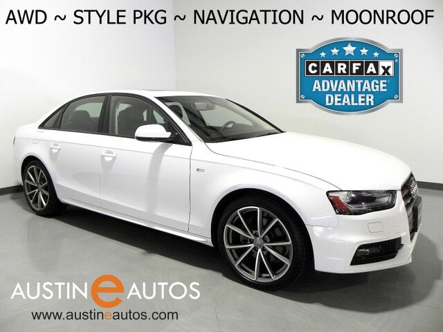 2016 Audi A4 Quattro 2.0T Premium *STYLE PKG, NAVIGATION, BACKUP-CAMERA, LEATHER, MOONROOF, HEATED SEATS, ADVANCED KEY, BLACK OPTIC TRIM, 19 INCH WHEELS, BLUETOOTH Round Rock TX