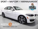 2016 BMW 2 Series 228i *SPORT LINE, NAVIGATION, BACKUP-CAMERA, ACTIVE DRIVING ASSISTANT, HARMAN/KARDON, LEATHER, MOONROOF, HEATED SEATS