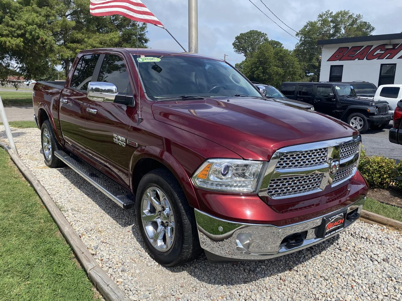 2016 DODGE RAM 1500 LARAMIE CREW CAB, WARRANTY, ECO DIESEL, LEATHER, HEATED SEATS, BACKUP CAM,  NAV! Norfolk VA