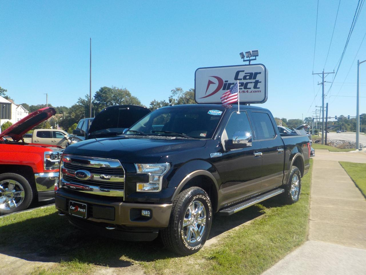 2016 FORD F-150 LARIAT CREW CAB 4X4, LEATHER, NAV, HEATED/COOLED SEATS, BACKUP CAM, PARKING SENSORS, 1 OWNER! Virginia Beach VA