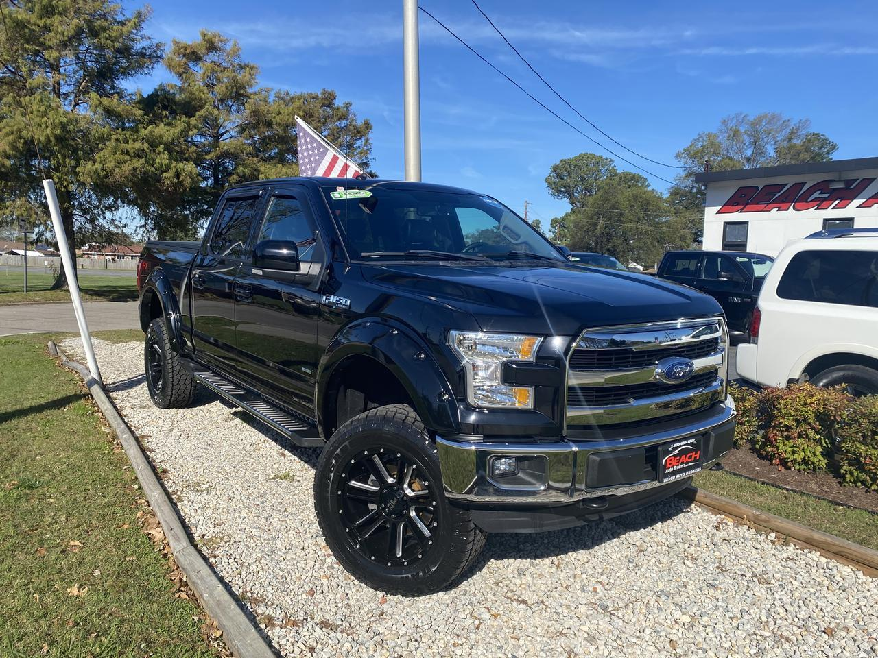 2016 FORD F-150 LARIAT SUPERCREW 4X4, WARRANTY,LIFTED, LEATHER, NAV, HEATED/COOLED SEATS, BACKUP CAM, CLEAN CARFAX! Norfolk VA