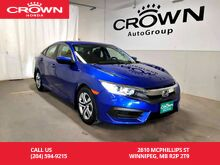 2016_Honda_Civic Sedan_LX/accident-free history/ one owner lease return/ low kms/ remote start/ back up cam/ heated seats/ econ mode assist_ Winnipeg MB