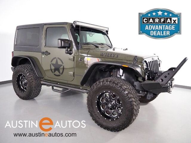 2016 Jeep Wrangler Willys Wheeler 4WD *AUTOMATIC, HARD TOP, PRO COMP LIFT, SMITTYBUILT SIDE STEPS & WINCH, LIGHT BAR, XRC BUMPER, BLUETOOTH PHONE & AUDIO Round Rock TX