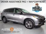 2017 INFINITI QX60 *NAVIGATION, BLIND SPOT ALERT, COLLISION WARNING w/BRAKE, SURROUND VIEW CAMERAS, ADAPTIVE CRUISE, MOONROOF, LEATHER, HEATED SEATS & STEERING WHEEL, BOSE AUDIO, BLUETOOTH