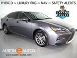 2017 Lexus ES 300h Hybrid *LUXURY PKG, NAVIGATION, COLLISION ALERT w/BRAKING, BLIND SPOT & LANE DEPARTURE ALERT, ADAPTIVE CRUISE, BACKUP-CAMERA, CLIMATE SEATS, LEATHER, MOONROOF, BLUETOOTH