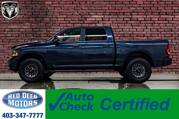 2017 Ram 1500 4x4 Crew Cab Sport Level Kit Wheels Leather Roof Nav Red Deer AB