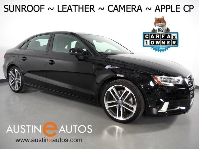 2018 Audi A3 2.0T Premium *BACKUP-CAMERA, OVERSIZED MOONROOF, LEATHER, ADVANCED KEY, HEATED SEATS, SPORT WHEELS, BLUETOOTH PHONE & AUDIO, APPLE CARPLAY Round Rock TX