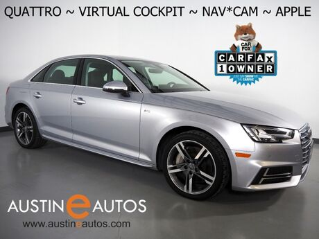 2018 Audi A4 2.0T Quattro Tech Premium Plus *VIRTUAL COCKPIT, NAVIGATION, SIDE ASSIST, BACKUP-CAMERA, BANG & OLUFSEN, MOONROOF, LEATHER, HEATED SEATS, ADVANCED KEY, APPLE CARPLAY Round Rock TX