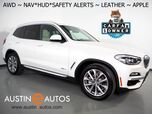 2018 BMW X3 xDrive30i AWD *XLINE, HEADS-UP DISPLAY, NAVIGATION, BLIND SPOT & LANE DEPARTURE ALERT, DRIVING ASSISTANT, BACKUP-CAMERA, PANORAMA MOONROOF, LEATHER, HARMAN/KARDON, APPLE CARPLAY