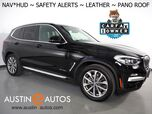 2018 BMW X3 xDrive30i AWD *XLINE, HEADS-UP DISPLAY, NAVIGATION, BLIND SPOT & LANE DEPARTURE ALERT, DRIVING ASSISTANT, BACKUP-CAMERA, PANORAMA MOONROOF, VERNASCA LEATHER, HEATED SEATS & STEERING WHEEL