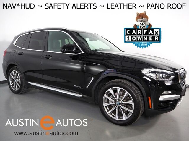2018 BMW X3 xDrive30i AWD *XLINE, HEADS-UP DISPLAY, NAVIGATION, BLIND SPOT & LANE DEPARTURE ALERT, DRIVING ASSISTANT, BACKUP-CAMERA, PANORAMA MOONROOF, VERNASCA LEATHER, HEATED SEATS & STEERING WHEEL Round Rock TX
