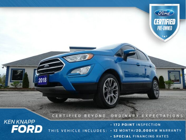 2018 Ford EcoSport Titanium- LEATHER- SUNROOF- HEATED SEATS- BACKUP CAM Essex ON