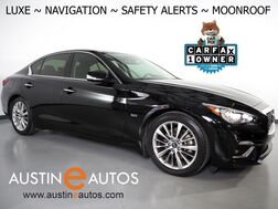 2018_INFINITI_Q50 3.0t LUXE_*NAVIGATION, BLIND SPOT ALERT, COLLISION ALERT, 360 VIEW CAMERAS, DUAL TOUCHSCREEN, MOONROOF, HEATED SEATS/STEERING WHEEL, REMOTE START, BLUETOOTH_ Round Rock TX