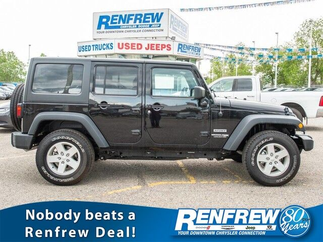 2018 Jeep Wrangler JK Unlimited Sport 4x4, Air Conditioning, SiriusXM Satellite Radio Calgary AB