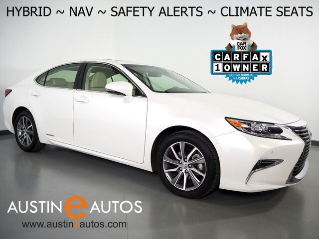 2018 Lexus ES 300h Hybrid *NAVIGATION, COLLISION ALERT w/BRAKING, BLIND SPOT & LANE DEPARTURE ALERT, ADAPTIVE CRUISE, BACKUP-CAMERA, MOONROOF, CLIMATE SEATS, BLUETOOTH PHONE & AUDIO Round Rock TX