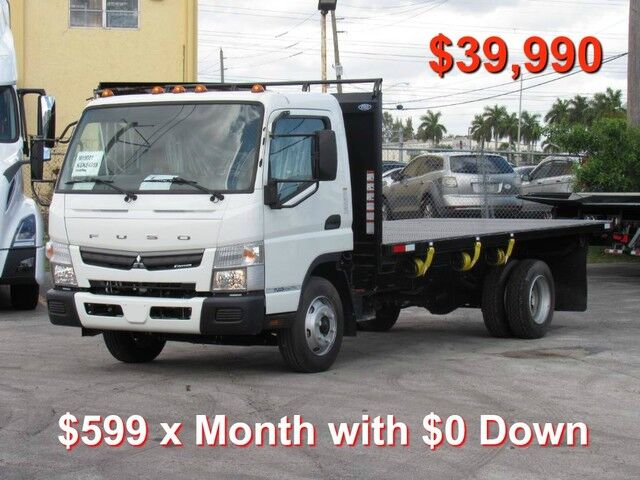 2019 Mitsubishi FE140 Gas $0 down*- 14' Steel Flatbed Truck