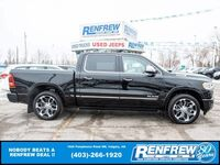 Ram 1500 Limited Crew Cab 4x4, Pano Sunroof, 12Inch Screen, Nav, Pwr Running Boards, Heated/Cooled Leather 2019