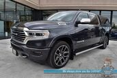 2019 Ram 1500 Longhorn / 4X4 / Crew Cab / 5.7L HEMI V8 / Auto Start / Heated & Cooled Seats / Heated Steering Wheel / Alpine Speakers / Navigation / Bed Liner / LEER Matching Canopy / Tow Pkg / Only 6k Miles