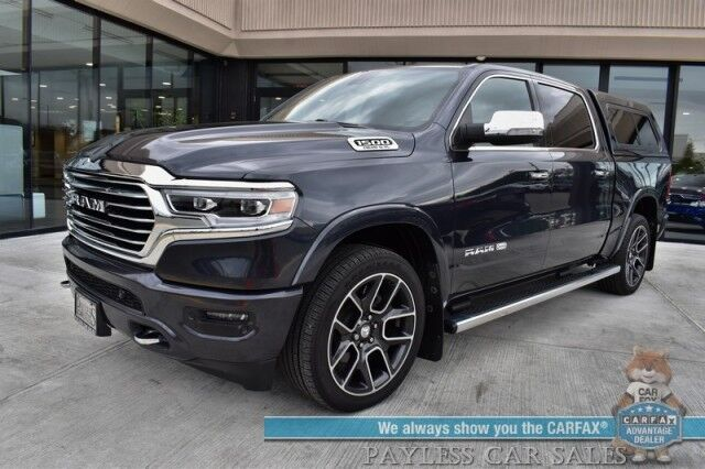 2019 Ram 1500 Longhorn / 4X4 / Crew Cab / 5.7L HEMI V8 / Auto Start / Heated & Cooled Seats / Heated Steering Wheel / Alpine Speakers / Navigation / Bed Liner / LEER Matching Canopy / Tow Pkg / Only 6k Miles Anchorage AK