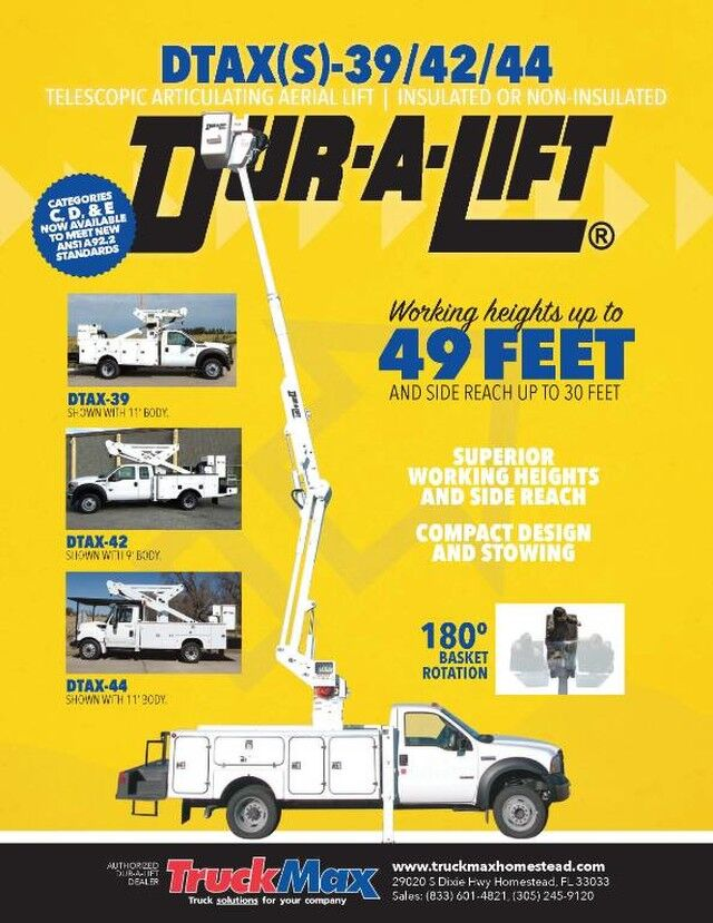 2020 Ford F-550XL Dur-A-Lift DTAX-39FP Insulated Bucket Truck 44' Working Height Homestead FL