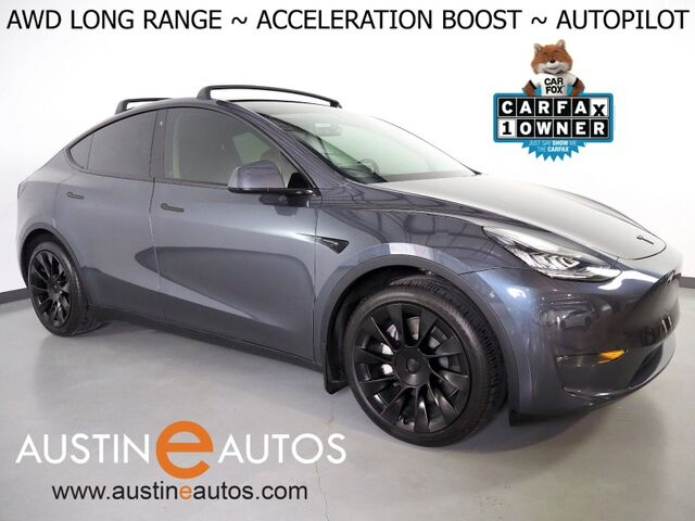 2020 Tesla Model Y Long Range AWD *ACCELERATION BOOST, AUTOPILOT, NAVIGATION, SAFETY ALERTS, ADAPTIVE CRUISE, SURROUND VIEW CAMERAS, PANORAMA GLASS ROOF, UPGRADED STEERING WHEEL, HEATED SEATS, 20 INCH WHEELS Round Rock TX