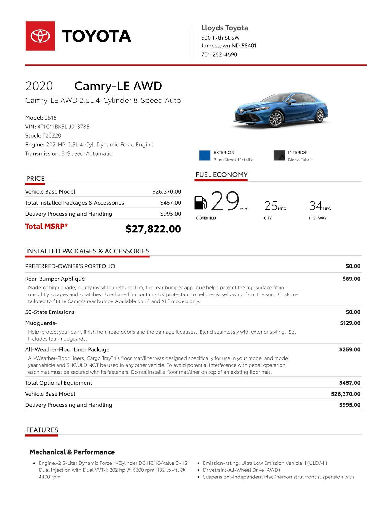 2020 Toyota Camry AWD LE Jamestown ND