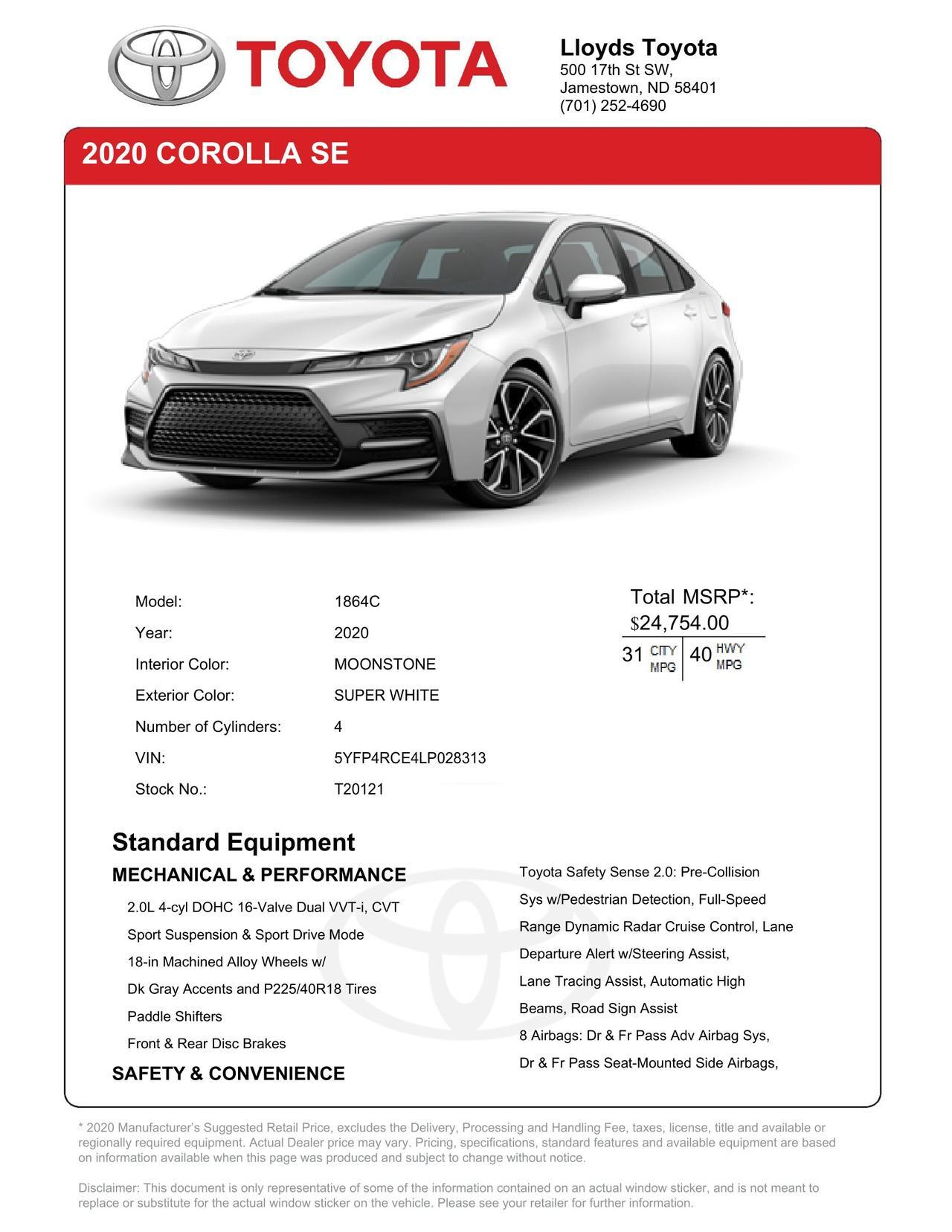 2020 Toyota Corolla SE Jamestown ND