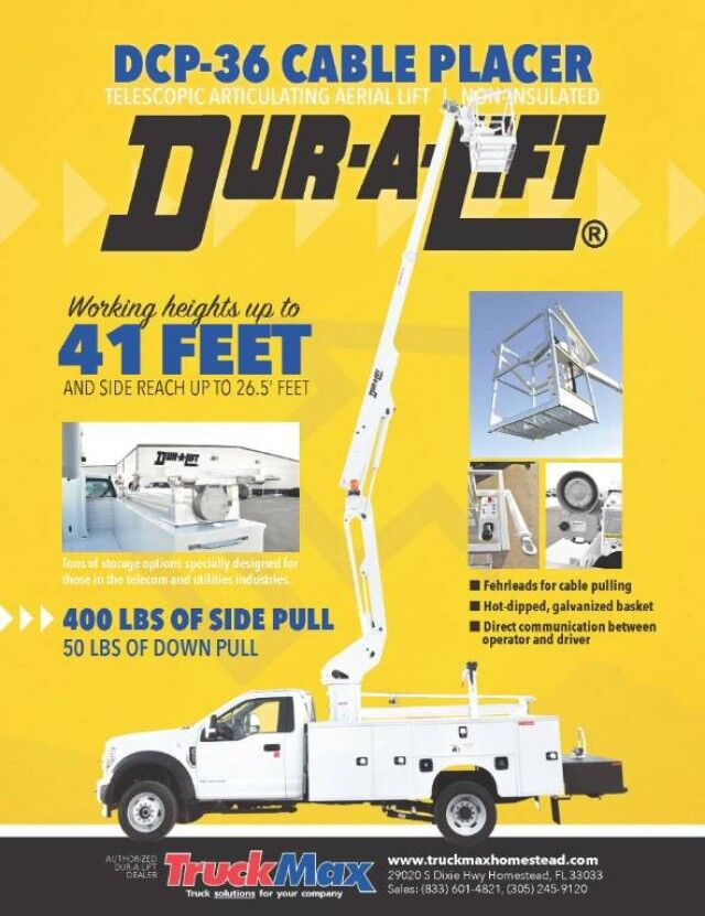 2021 Ford F-550XL Dur-A-Lift DCP-36TS Cable Placer / Cable Puller / Bucket Truck Homestead FL