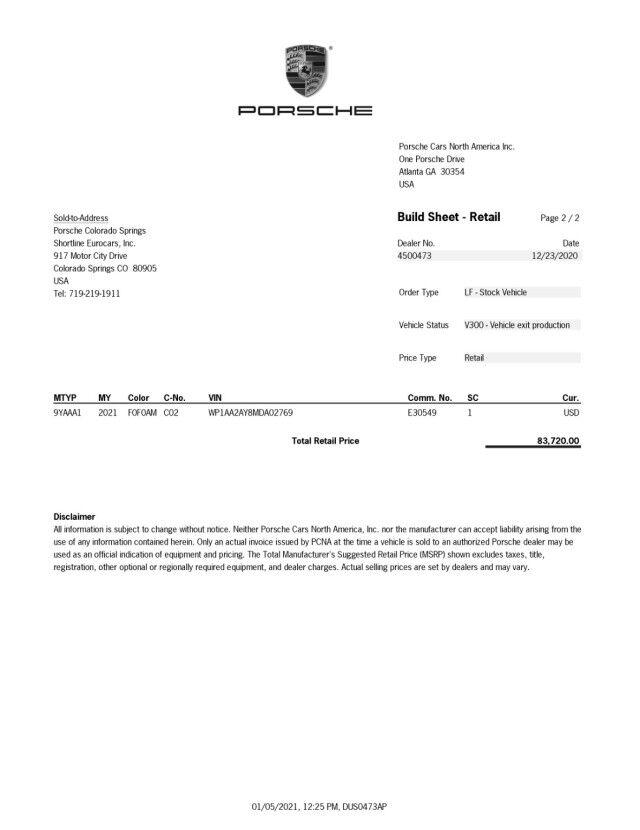 2021 Porsche Cayenne  Colorado Springs CO