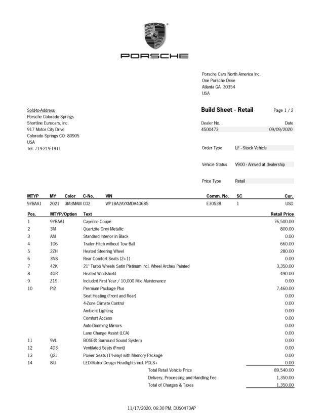 2021 Porsche Cayenne AWD Colorado Springs CO