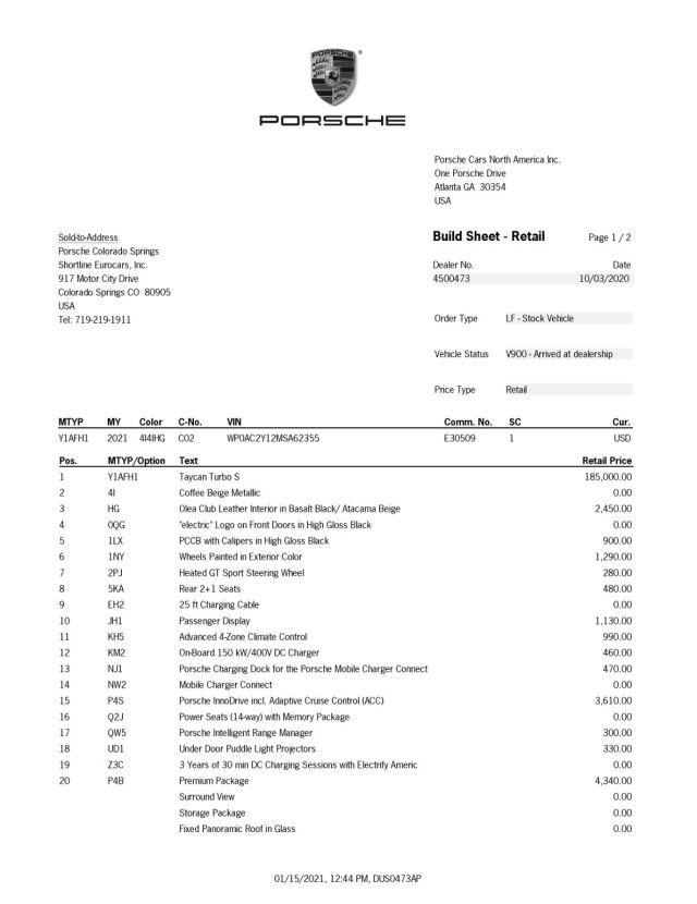 2021 Porsche Taycan Turbo Colorado Springs CO