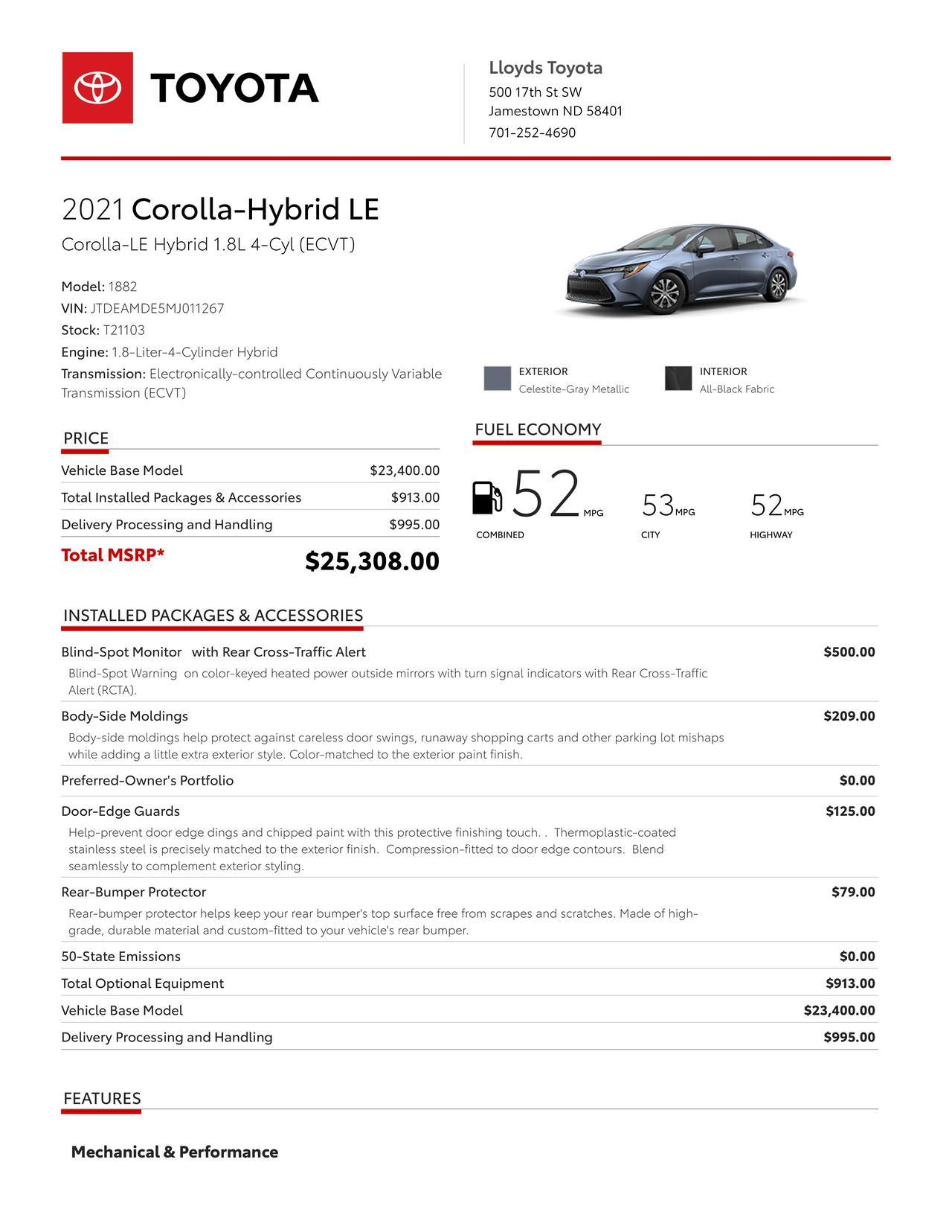 2021 Toyota Corolla Hybrid LE Jamestown ND