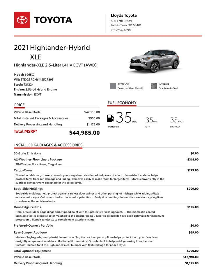2021 Toyota Highlander Hybrid XLE AWD Jamestown ND